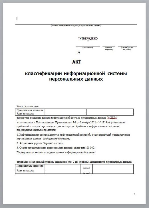 Пустой бланк Акта классификации ИСПДн
