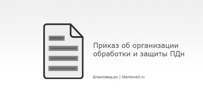 Образец Приказа об организации обработки и защиты ПДн